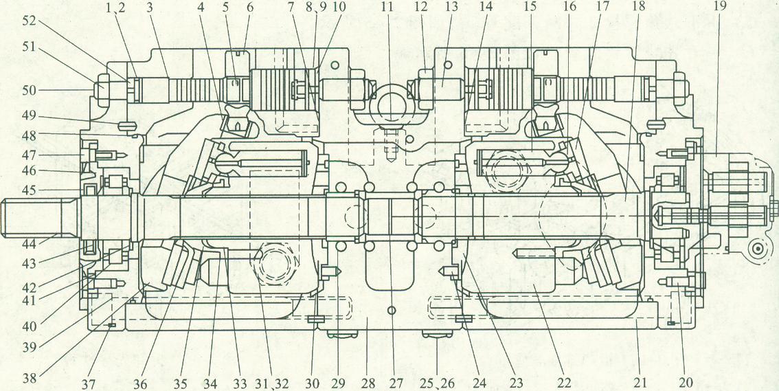 为了让大家更好地了解挖掘机内部主要构造及功能,特地为大家提供了现代R220LC-5挖掘机主泵机构的剖面图.如下:  图2-47主泵结构1、9-支撑环2、7、8、14、26、32、41、48-0形圈3-伺服柱塞4倾斜轴瓦5-反馈销6-倾斜销10-大止动块11 吊环螺栓12、51-六角螺母13、50-固定螺钉15-柱塞16包脚17包脚板18-后驱动轴19-齿轮泵20、47六角螺栓21-泵壳22-液压缸缸体23-左配流盘24-销25-可变螺距塞27花键连接28-阀块29-滚针轴承30-右配流盘31可变螺距塞(